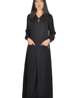 Open front abaya with zipper