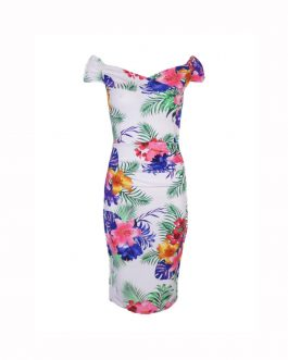 Women's floral printed Off shoulder sexy dress