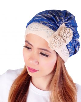 af flower beaded double lace cotton turban hat