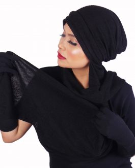 af Women's turban 3 layer front with shawl