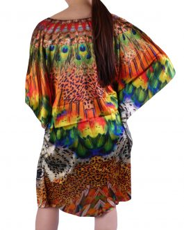 silk kaftan top dress round neck