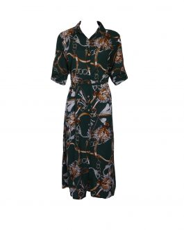 women's printed long sleeve  button front dress