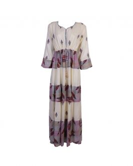 women's embroidered long dress full sleeves with stone