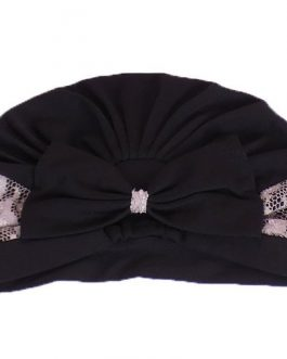Women's ribbon bow with lace turban hat