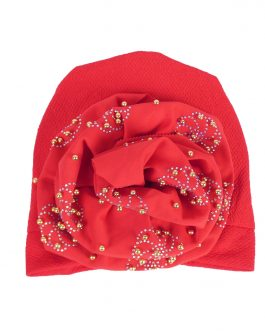 Women's big bow turban hat with pearl
