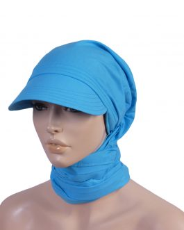 Women's keb hat with attached scarf
