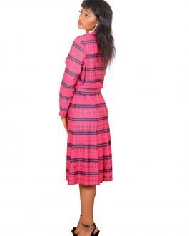 Checkered long sleeve dress with collar